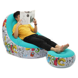 Inflatable Lazy Lounge Chair Footrest Set Home Office Bedroom In Outdoor Sofa $35.99