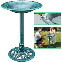 28 in Pedestal Bird Bath Outdoor Garden Yard Antique Decor Lightweight Birdbath $35.99