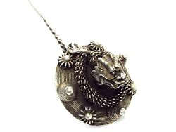 Antiq Asia n.800 Silver Handmade Coiled Chinese Dragon on Sky Disc Hairpin $249 $249.00
