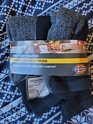 Dickies Performance Work Dri Tech Quarter Mens Socks 6 Pair Open Box $14.99
