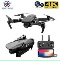 Drone WIFI FPV 4K HD Dual Camera Foldable RC Quadcopter Drone E88 Xmas $62.00