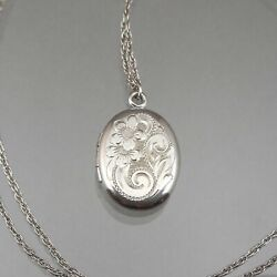 Vintage Silver * Oval Locket Signed W.LM Pendant Sterling Chain Necklace Flowers $35.00
