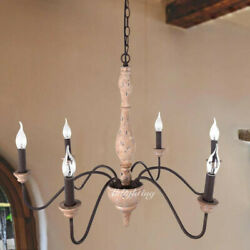 6 Lights French Country Chandelier Candle Style Wood Rust Metal Pendant Light $159.99