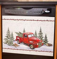 NOSTALGIC VINTAGE KITCHEN RED PICKUP TRUCK DISHWASHER MAGNET CHRISTMAS DECOR $27.98