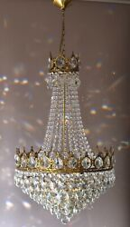 French Empire Crystal Chandelier Antique Vintage Ceiling Lighting Pendant Lamp GBP 1245.00