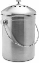 Stainless Steel Compost Pail 1.3Gal Charcoal Filter Kitchen Scrap Bin Container $33.98