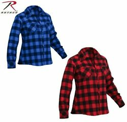 WOMENS CUT PLAID FLANNEL SHIRTS 100%COTTON CHOOSE COLOR AND SIZE $32.99
