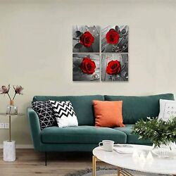 Red Rose Canvas Wall Art Flower Canvas Print Black and White Wall Paintings $36.99