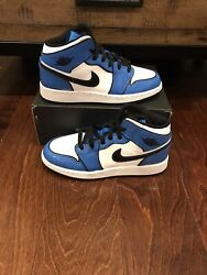 Nike Air Jordan 1 Retro Mid SE Signal Blue White Black Size 3.5 12 $179.99