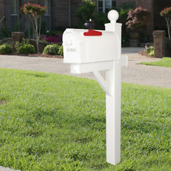 Postal Pro Hampton Post Mount Mailbox White with Gold Lettering Fully Assembled $25.00