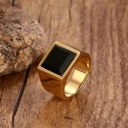 Royal look Square Black Stone Signet Gold Color Mens Rings $9.50