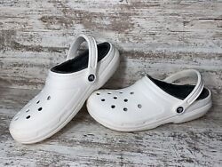 Crocs Classic White Dual Comfort Winter Lined Clogs Womens Size 12 Mens Size 10 $26.95