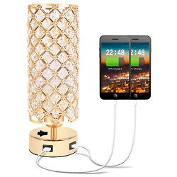 Altatac Crystal Gold Table Lamp Bedside Light Nightstand Dual USB Charging Ports $24.95
