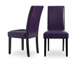 NEW Faux Leather Purple Kitchen Dining Chairs Set of 2 Bar Table Durable Cheap $126.53