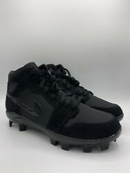 Nike Jordan 1 Retro MCS Baseball Cleats Triple Black AV5354 002 Mens Size 8.5 $100.00