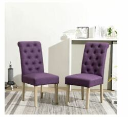 New Upholstered Parsons Dining Chairs Set of 2 Purple Kitchen Bar Seats Durable $186.33
