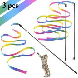 3PCS Cat Toys Cute Funny Colorful Rod Teaser Wand Plastic Pet Toys for Cats Inte $5.94