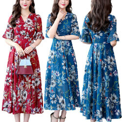 Womens Floral Short Sleeve Swing Midi Dress Ladies Casual Holiday Party Dresses $15.49