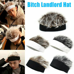 Men Women Novelty Beanie Hat With Spiked Fake Hair Funny Short Wig Cap $13.99
