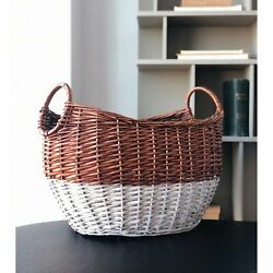 Handcrafted 4 Home Tall Curved Modern Wicker Basket Stylish Wide Open Durable $97.20