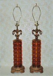 Pair Table Lamps Mid Century Modern Amber Bubble Glass $499.00