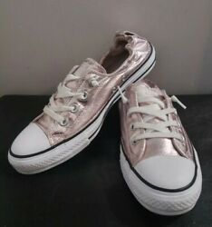 CONVERSE ALL STAR WOMENS ROSE GOLD SHIMMER LOW TOP SNEAKERS SIZE 10 $35.00