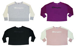 Champion Plus Size Pullover Logo Front Long Sleeve Women#x27;s Sweatshirt NWT $39.95