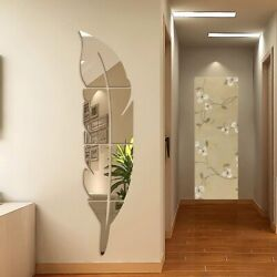 DIY Feather 3D Mirror Wall Sticker Living Room Home Decor Mural Wall Decoration $7.44
