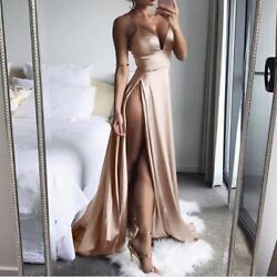 New Arrival Dress High Split Maxi Sexy Women Solid Party Dresses Clubwear Long $23.99