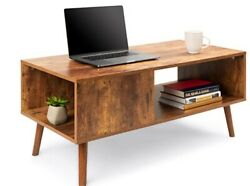 Wooden Modern Coffee Table Furniture for Living Room w Open Storage Shelf. $100.00