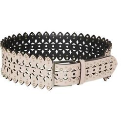 BCBGMAXAZRIA Womens Leather Studded Perforated Wide Belt BHFO 4766 $25.99