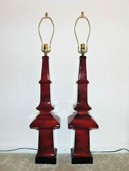 HUGE Pair Table Lamps Red Pagoda Chinese Chinoiserie Asian Mid Century Obelisk $1399.00