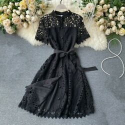 Lady Hollow Out Lace Dresses Midi Short Sleeve Floral Button Casual Fashion Chic $29.89