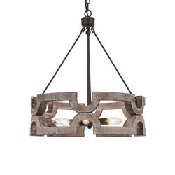 Farmhouse Wood Drum Chandelier Kitchen Island Pendant Light Dining Room Fixture $189.99