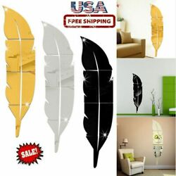 3D Removable Feather Mirror Home Room Decal Vinyl DIY Art Stickers Wall Decor $12.34