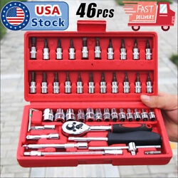 46pcs 1 4 Ratchet Wrench Combination Package Socket Tool Set Auto Car Repairing $18.99