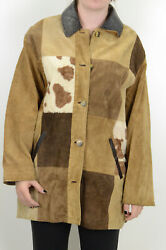 M Express Ave. De L#x27;Opera Leather Suede Western Cowboy Patchwork Jacket Coat WOW $89.99