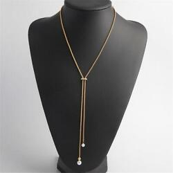 Michael Kors Classic Modern Gold Tone amp; Pearl Lariat Necklace 24quot; $40.00