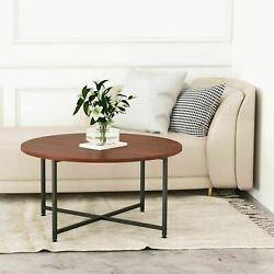 IRONCK Round Coffee Table Industrial Table for Living Room with X Base Metal $59.99