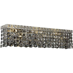 WALL SCONCE SILVER SHADE CRYSTAL BATHROOM VANITY DINING ROOM FIXTURE 4 LIGHT 18quot; $422.94
