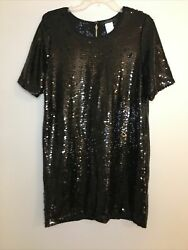 Women Black Sequin Dress Size Large