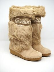 TECNICA Womens Calf Length Fur Boots Tan Size 37.5 7 Is Made In Italy $78.00