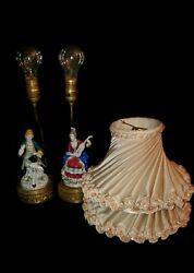 Pair of Vintage Porcelain figural Victorian Lamps gold trim with Original Shades C $325.86