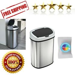 Sensor Touchless Trash Can 13 Gallon Stainless Steel Kitchen Bin Odor Control $77.09