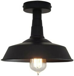 Farmhouse Light Fixtures Ceiling Vintage Flush Mount Industrial Black Metal Barn $41.95