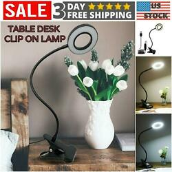 USB Desk Lamp Clip on Table Selfie Ring Light Video Makeup Reading Lights Bed Ni $13.95