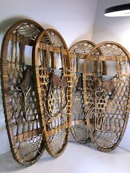 US C. A. LUND Bear Paw Snow Shoes 13X 28 Bindings Prescott Wis. 1945 Military $162.50
