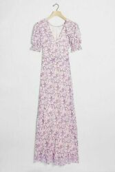 ANTHROPOLOGIE SAYLOR NYC AMARETTE PUFF SLEEVE FLORAL PRINTED MAXI DRESS XS $345 $69.99