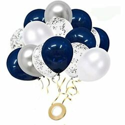 Navy Blue And Silver Confetti Balloons 50 Pcs 12 Inch White Metallic Party For $13.94