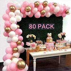 Pink And Gold Balloons 80 Pcs 10 Inch Baby White Latex Party For Shower Wedding $9.71